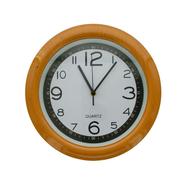 Round Simulated Wood Wall Clock