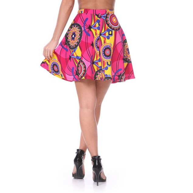 Fuchsia & Yellow Geometric Print Fit and Flare Skater Skirt