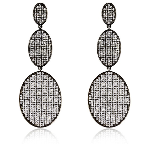Black IP Plating Over Sterling Silver Simulated Diamond Triple Tier Oval Earrings