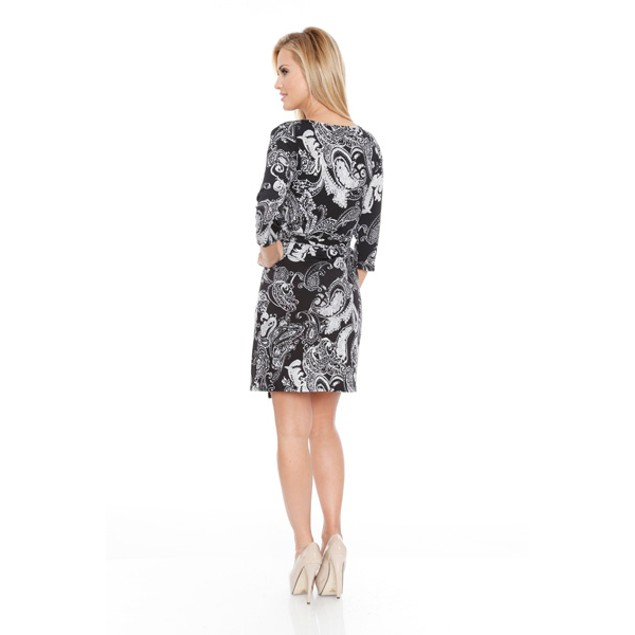 White Mark Women's 'Mariah' Wrap Dress - Paisley