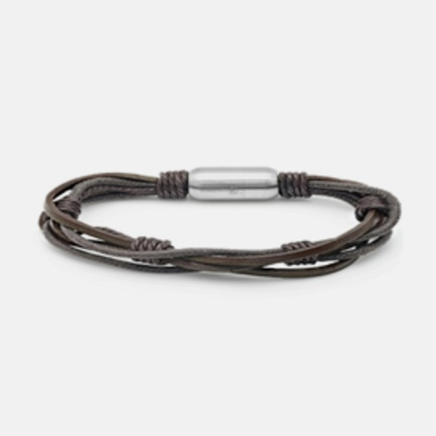 Men's Knot Genuine Leather Bracelet - Brown
