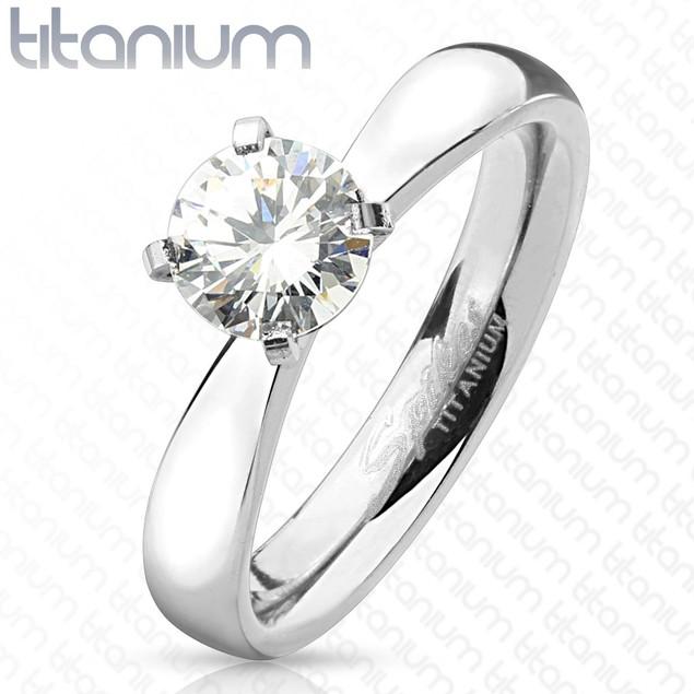 Round Cut Solitaire CZ Titanium Engagement Ring