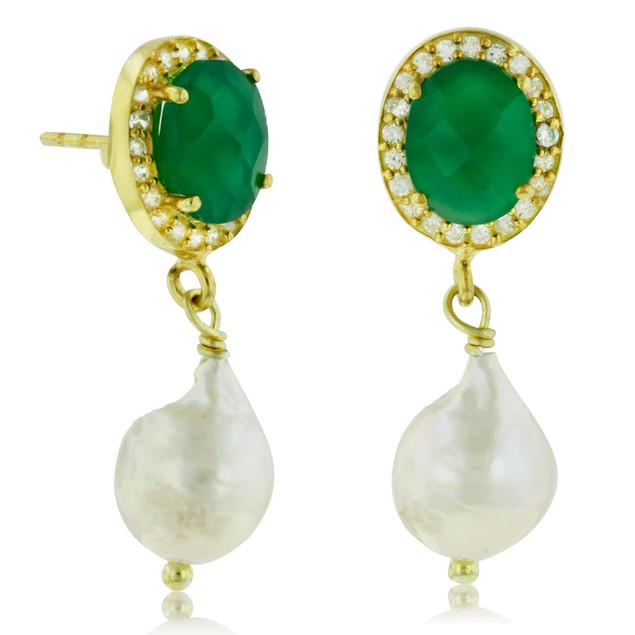 6 Carat Green Onyx and Pearl Halo Dangle Earrings, Sterling Silver with Gold Overlay