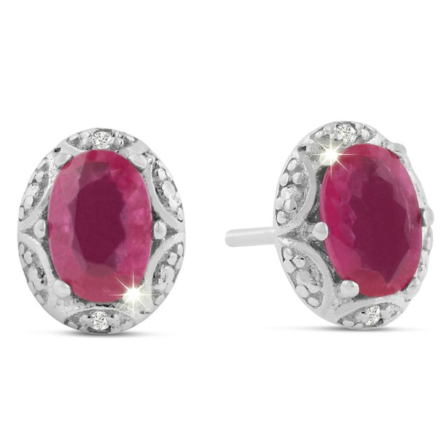 1 Carat Pear Shape Ruby and Diamond Halo Stud Earrings In Sterling Silver