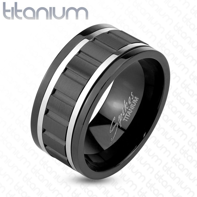 Wavy Black IP Spinner Ring with Steel Lines Solid Titanium Ring