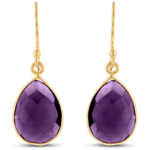 12ct Created Amethyst Pear Shape Earrings In 18 Karat Gold Overlay