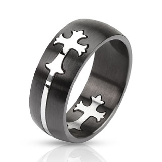 Dome Cut Out Celtic Cross Two Tone Band Ring Stainless Steel