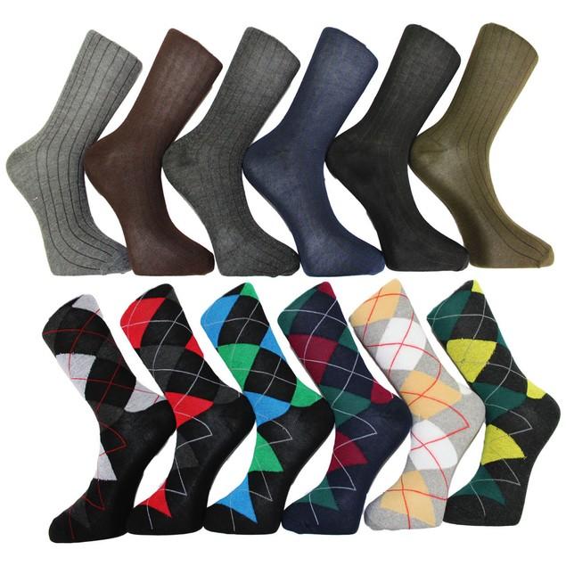 24 Pairs: Frenchic Men's Premium Fashion Printed Dress Socks