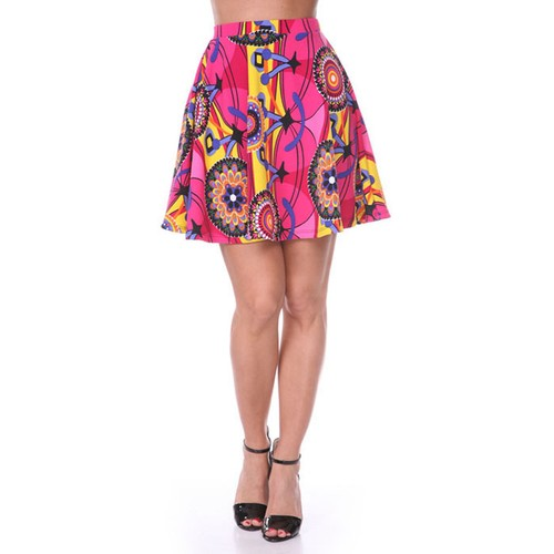 Fuchsia & Yellow Geometric Print Fit and Flare Skater Skirt
