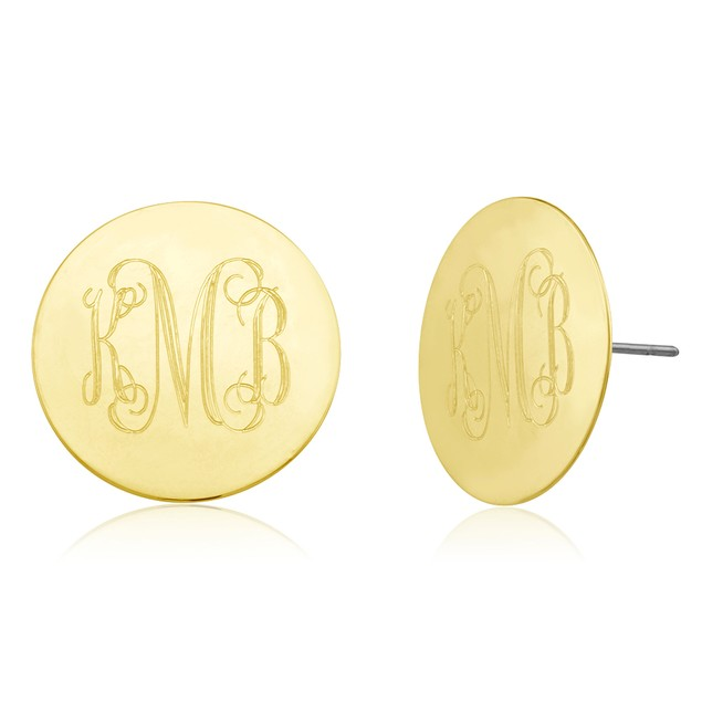 Monogrammed Circle Disc Earrings