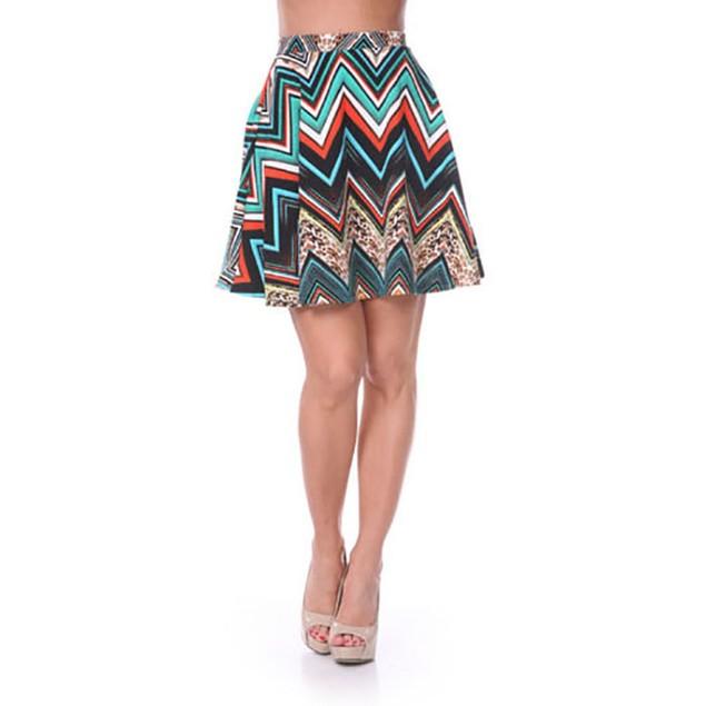 Teal & Orange Chevron Print Skater Skirt