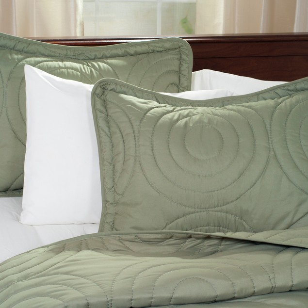 Lavish Home Solid Embossed 3 Piece Quilt Set