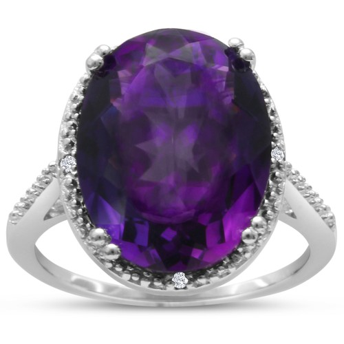8ct Oval Shape Amethyst and Diamond Ring