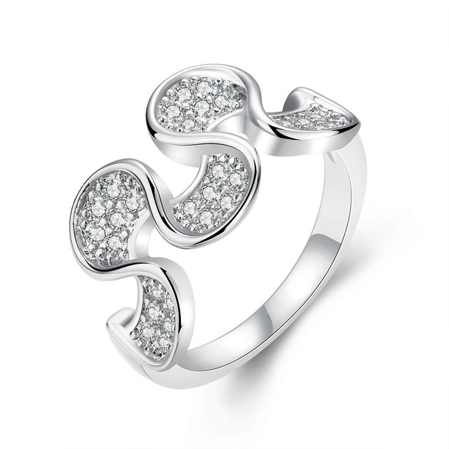 White Gold Plated Harp Shaped Ring