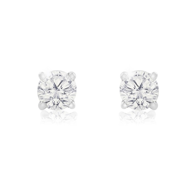 1/2ct Natural Genuine Diamond Stud Earrings In 10 Karat White Gold