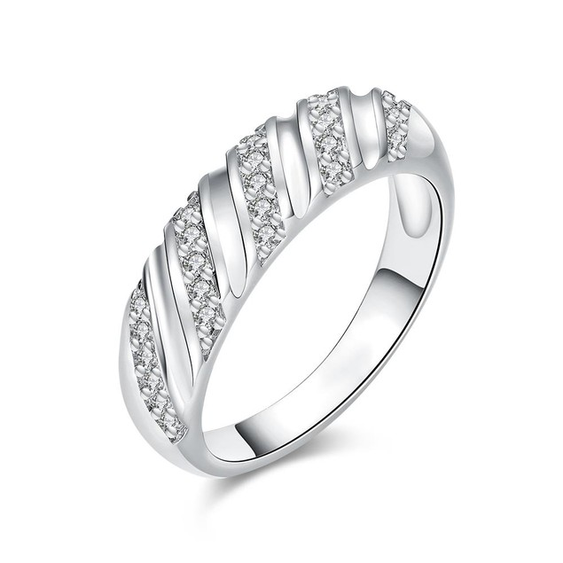White Gold Plated Angular Curved Ring