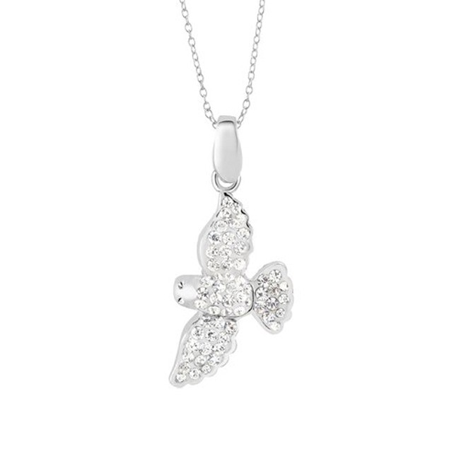 Sterling Silver Crystal Seagull Necklace