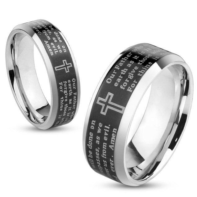 Lord's Prayer Black IP Beveled Edge Stainless Steel Ring