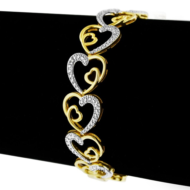 Two Tone Love Heart Diamond Bracelet