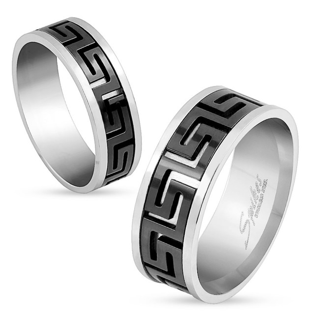 Cut out Maze Black IP Center Stainless Steel Ring
