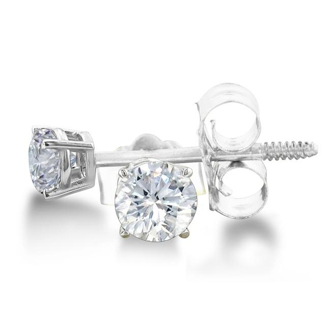 Certified 1/3ct Natural Genuine Diamond Stud Earrings In 14 Karat White Gold