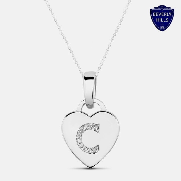 Designe Inspired White Gold Plated Initial Pendant