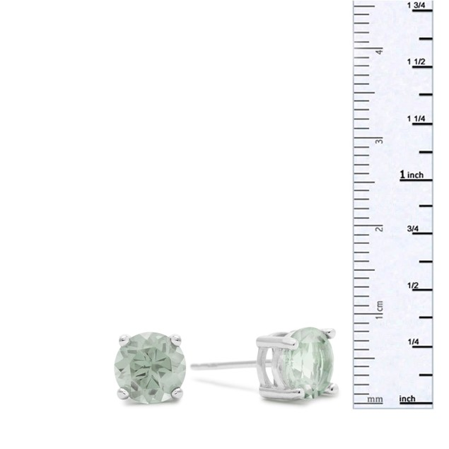 2 Ct Round Green Amethyst Earrings In Sterling Silver