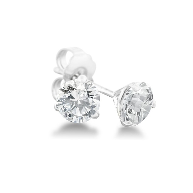 1/3ct Natural Genuine Diamond Stud Earrings In Martini Settling, 14 Karat White Gold