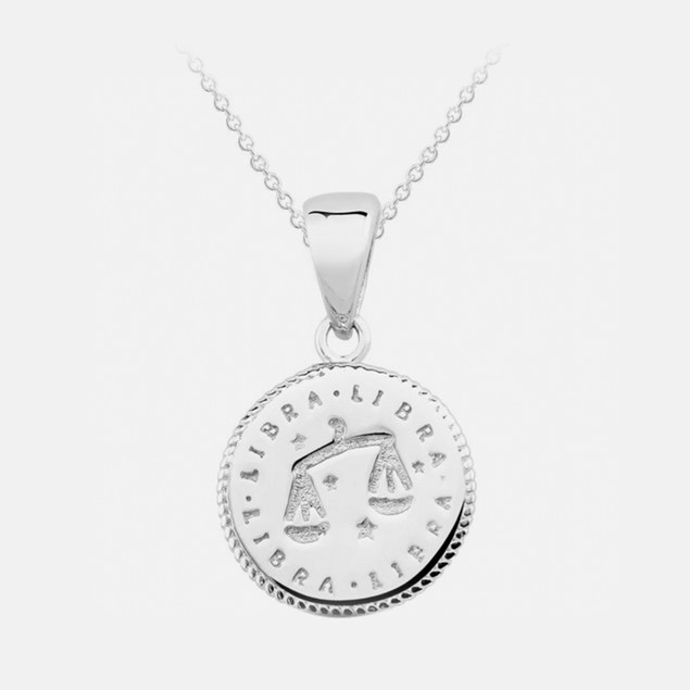 Inspired Sterling Silver Zodiac Pendant - Libra