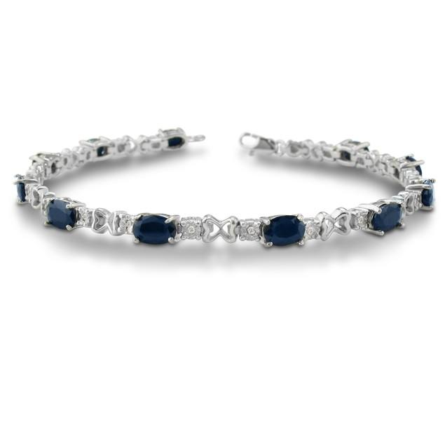 7 1/2ct Sapphire & Diamond Bracelet in Sterling Silver
