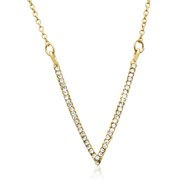 Yellow Gold Crystal V Necklace