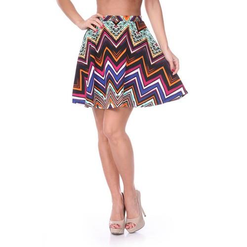 Fuchsia & Orange Chevron Print Skater Skirt