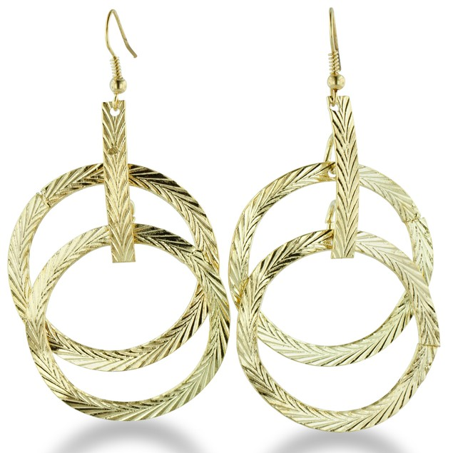 Gold Tone Multi-Hoop Dangle Earrings
