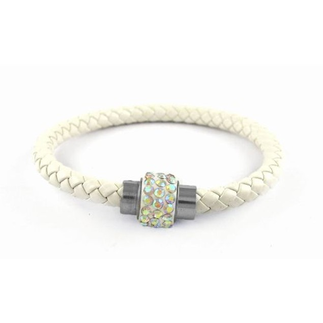 Genuine Leather Braided Bracelet with Crystals