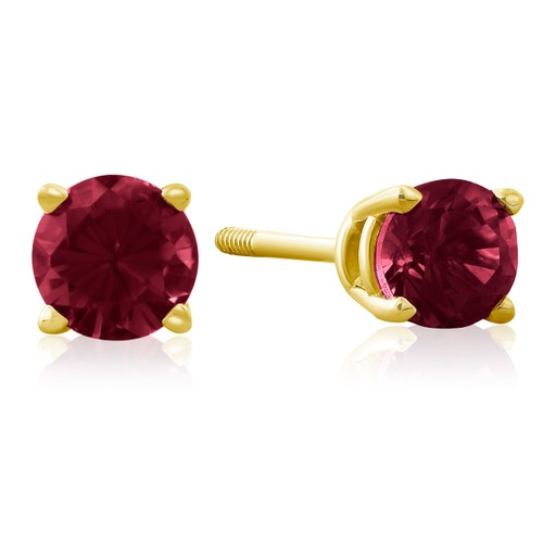 1/2ct Ruby Stud Earrings in 14k Yellow Gold