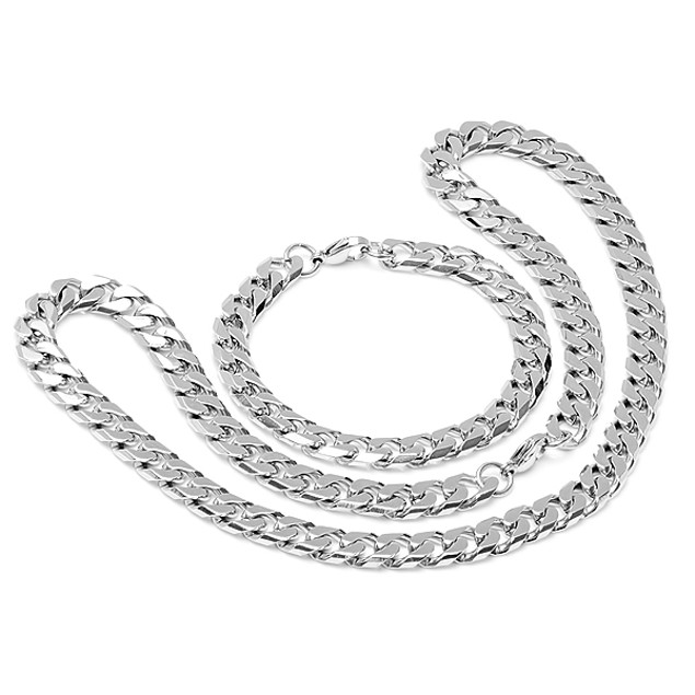Genuine Stainless Steel Men's Bracelet and Necklace in Silver-tone