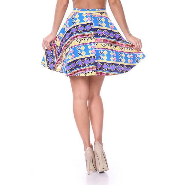 Ultra Pink & Royal Blue Tribal Print Skater Skirt