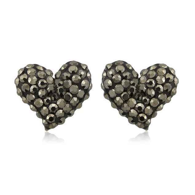 Sterling Silver Sparkling Crystal 10mm Stud Earrings - Heart Grey