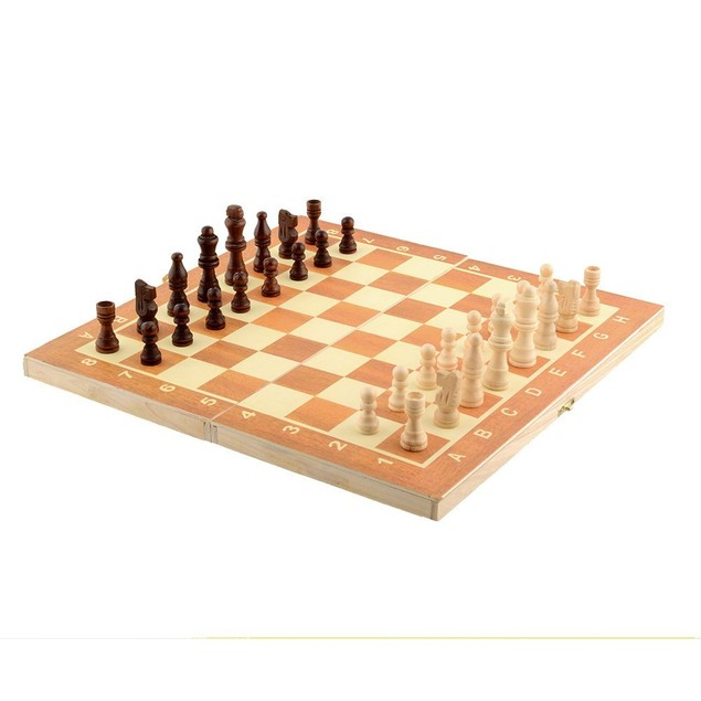 Chess Set Vintage Wood Pieces Board Box Wooden