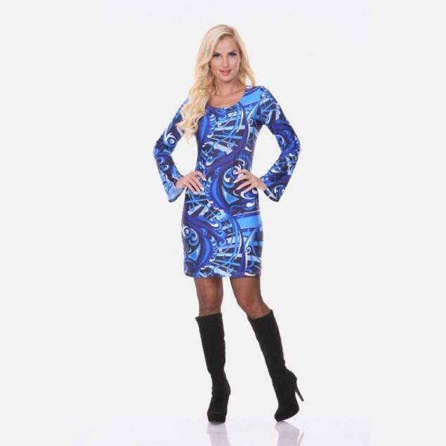 White Mark Guilana Long Sleeve Blue Print Dress
