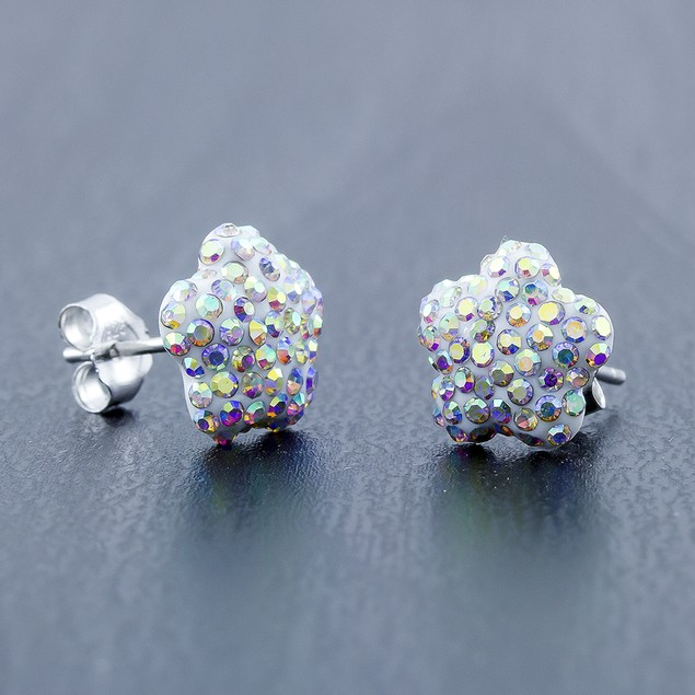 Sterling Silver Sparkling Crystal 10mm Stud Earrings - Flower Rainbow