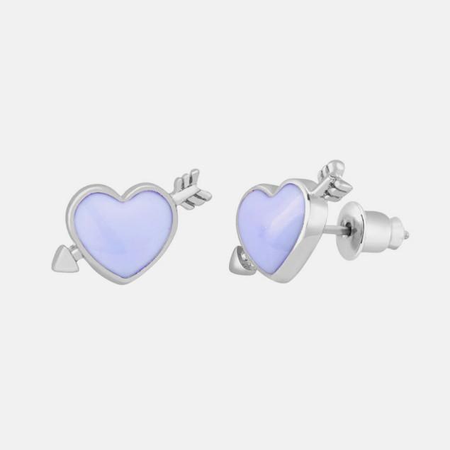 18kt Gold Plated Heart & Arrow Studs - Purple