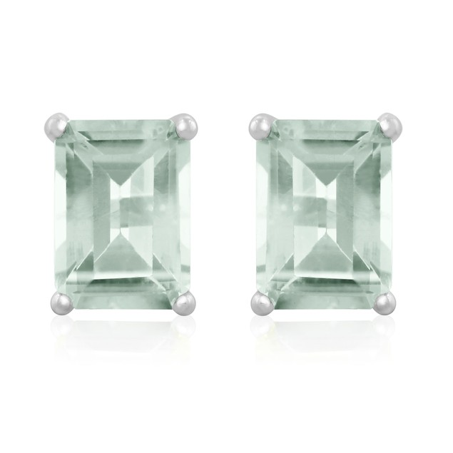 2 1/2ct Green Amethyst Earrings In Sterling Silver