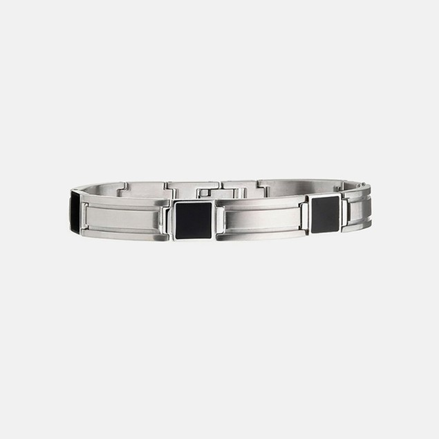 Men's Stainless Steel & Black IP Bracelet