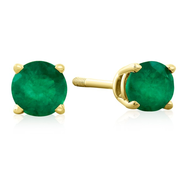 .60ct Emerald Stud Earrings in 14k Yellow Gold