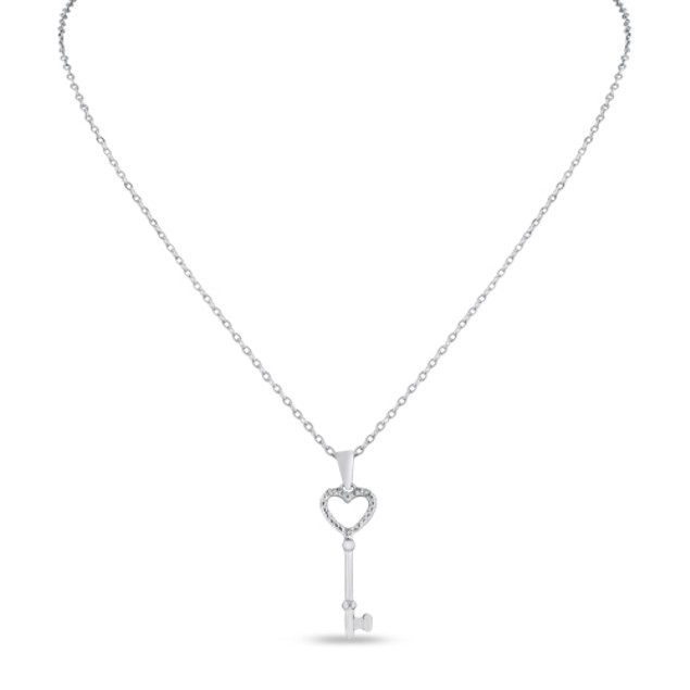 Heart Shaped Diamond Key Pendant in Sterling Silver