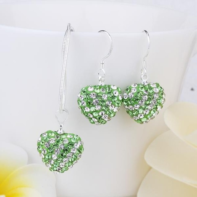 Austrian Stone Multi-Pave Heart Drop Earring and Necklace Set - Grass Green
