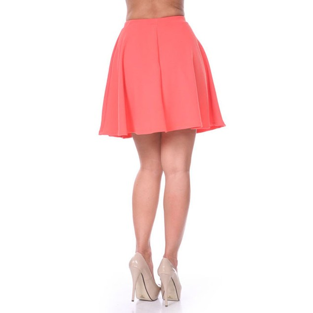 Solid Coral Fit & Flare Skater Skirt