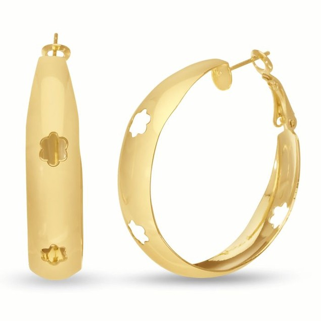 Gold Tone Hoop Earrings with Flower Cutout