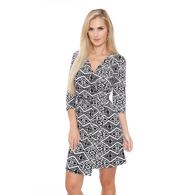 White Mark Women's 'Mariah' Wrap Dress - Trellis
